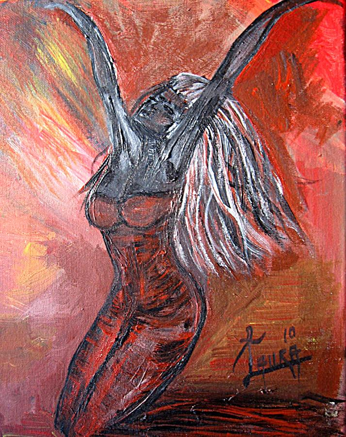 Spiritual Framed Prints Painting - On Fire by Laura Fatta