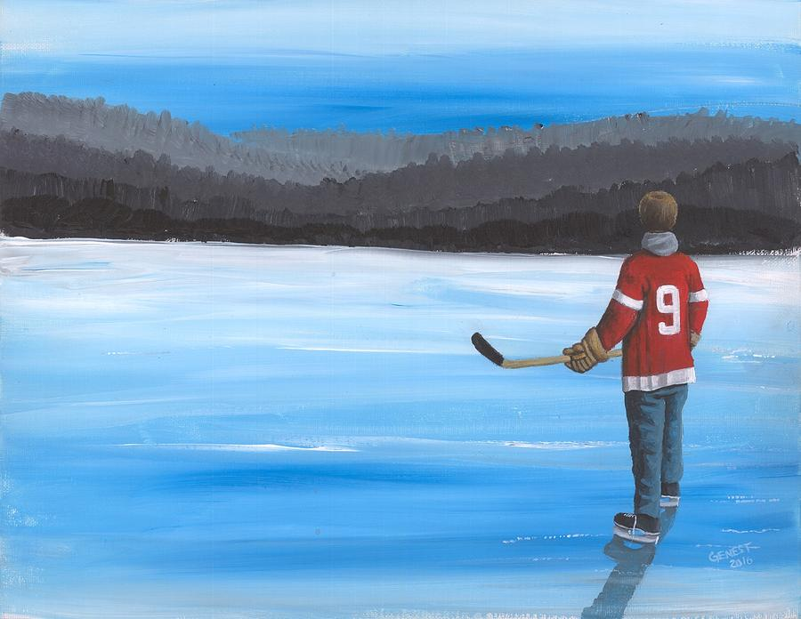 Nhl Painting - On Frozen Pond - Gordie by Ron Genest