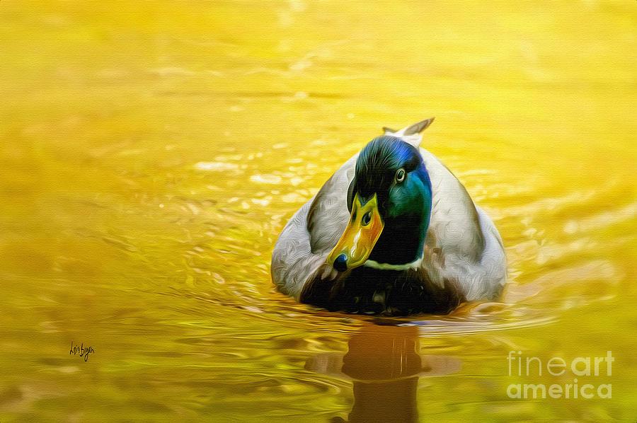 Mallard Digital Art - On Golden Pond by Lois Bryan