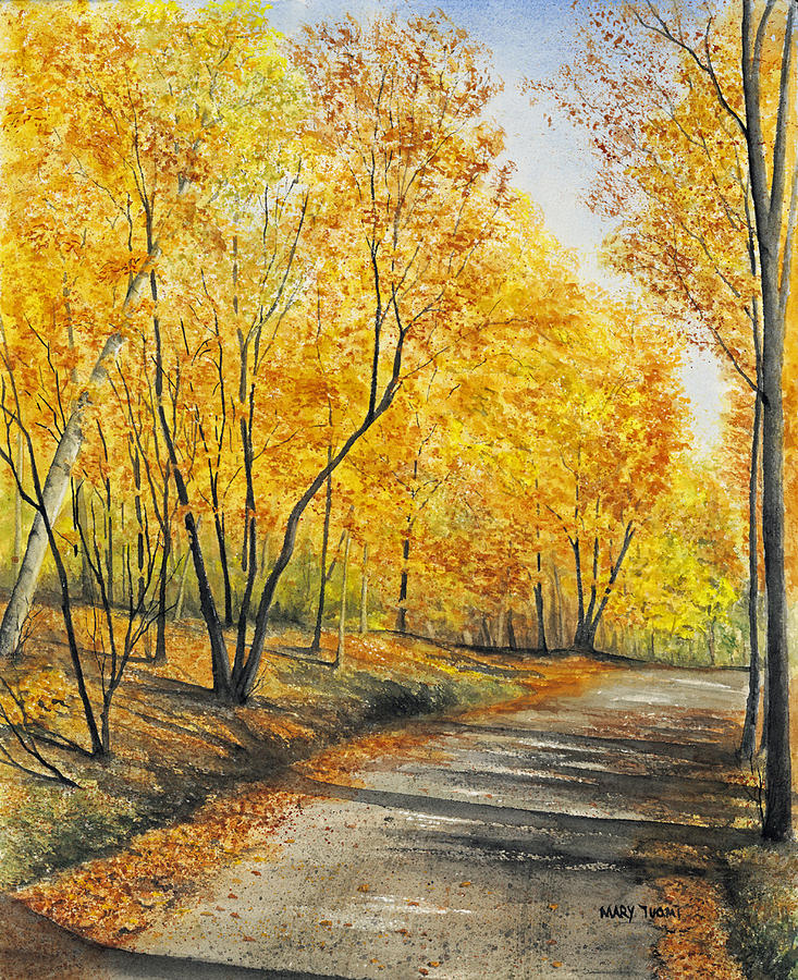 Autumn Painting - On Golden Road by Mary Tuomi