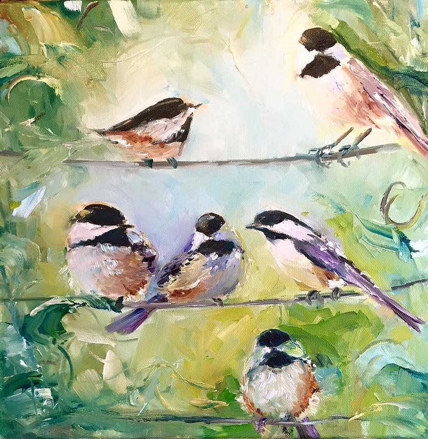 Chickadee Painting - On-line Dating-for The Birds by Sarah Jane Conklin