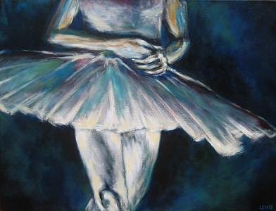 Ballerina Painting - On Stage by Ellen Lewis