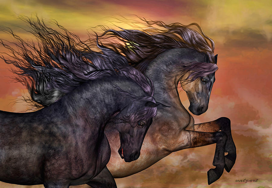 Mustangs Painting - On Sugar Mountain by Valerie Anne Kelly