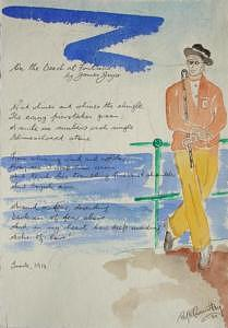 Poem Painting - On The Beach At Fontana by Roger Cummiskey