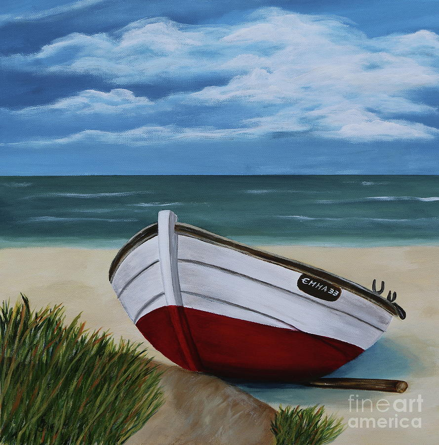 Boats Painting - On The Beach by Christiane Schulze Art And Photography