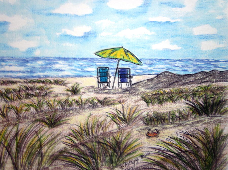 Beach Painting - On The Beach by Kathy Marrs Chandler