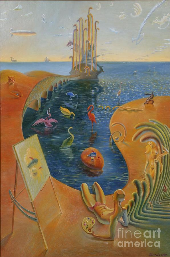Surrealism Painting - On The Beach Of Ocean Of Subconsciousness by Hmylnin Denis