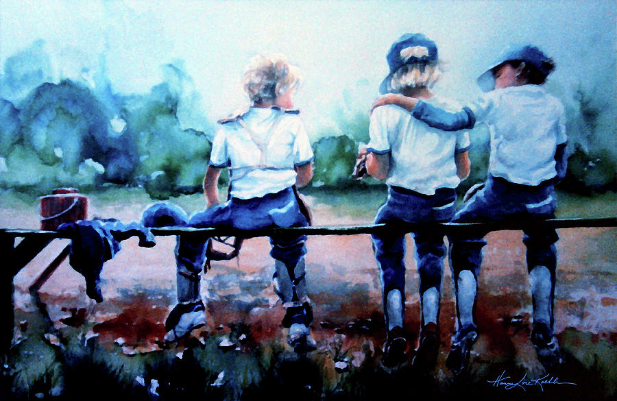 Boys Baseball Painting - On The Bench by Hanne Lore Koehler