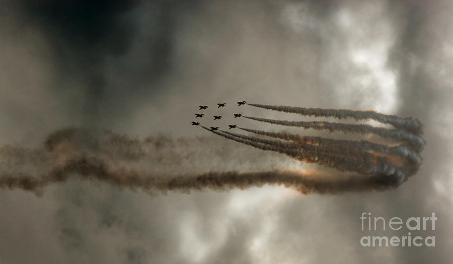 Red Arrows Photograph - On The Bend by Angel Ciesniarska
