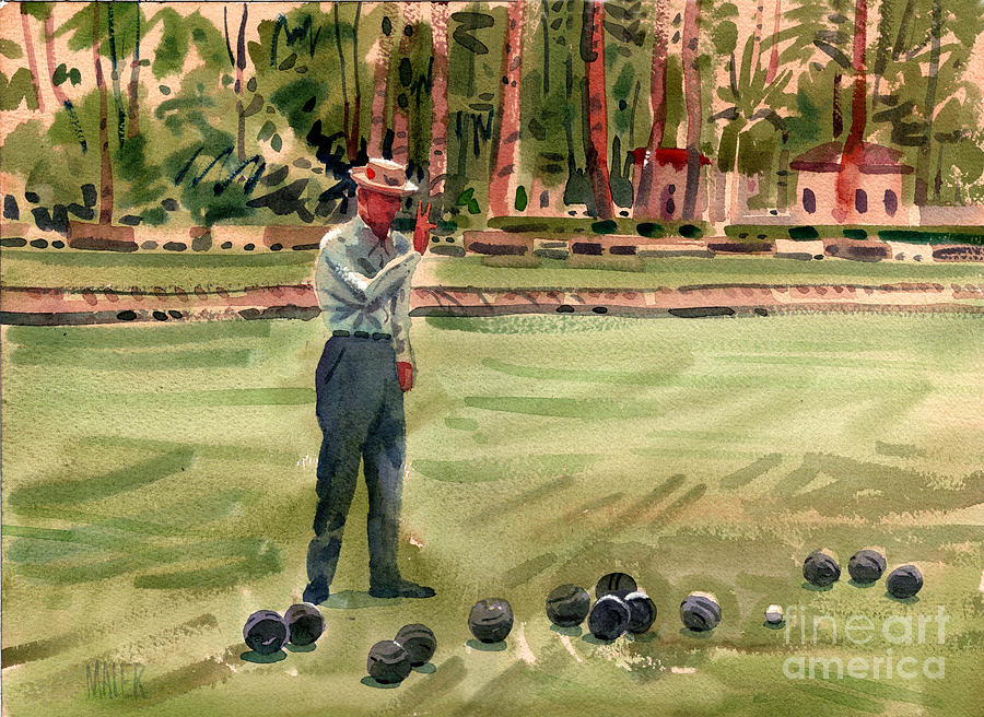 Bowls Painting - On The Bowling Green by Donald Maier