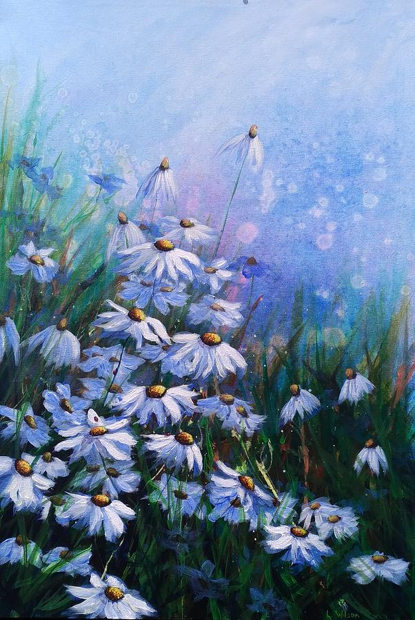 Daisy Painting - On the Bright Side by Laura Wilson