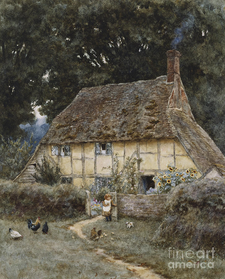 English; Landscape; Cottage; Path; Garden; Half-timbered; Wood;woods; Chickens; Rural; Child;f Eeding; C19th; C20th; Victorian Painting - On The Brook Road Near Witley by Helen Allingham