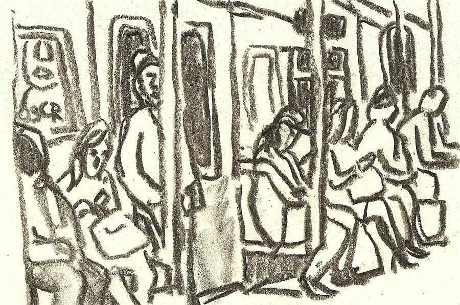 Subway Drawing - On the C train, NYC by Thor Wickstrom