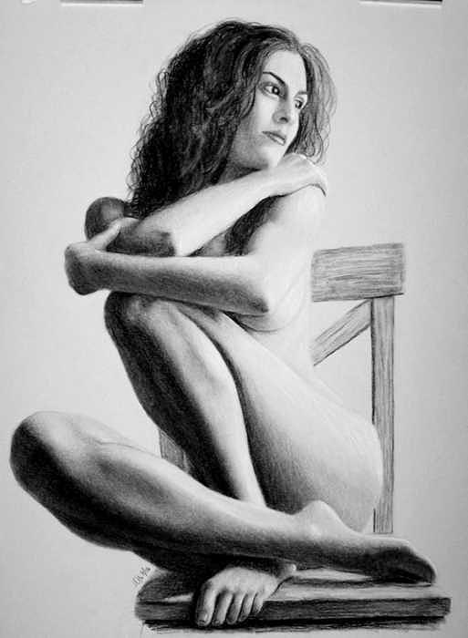 Woman Drawing - On The Chair by Joseph Ogle
