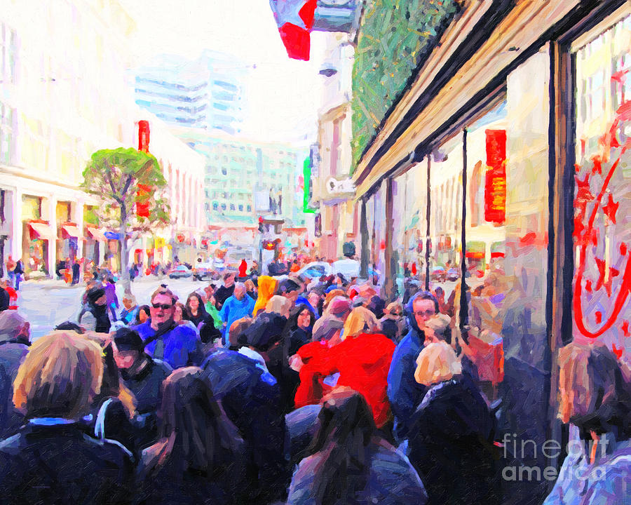 Street Photograph - On The Day Before Christmas . Stockton Street San Francisco . Photo Artwork by Wingsdomain Art and Photography