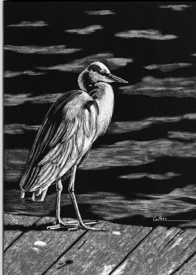Crane Painting - On The Dock In The Bay by Diane Cutter