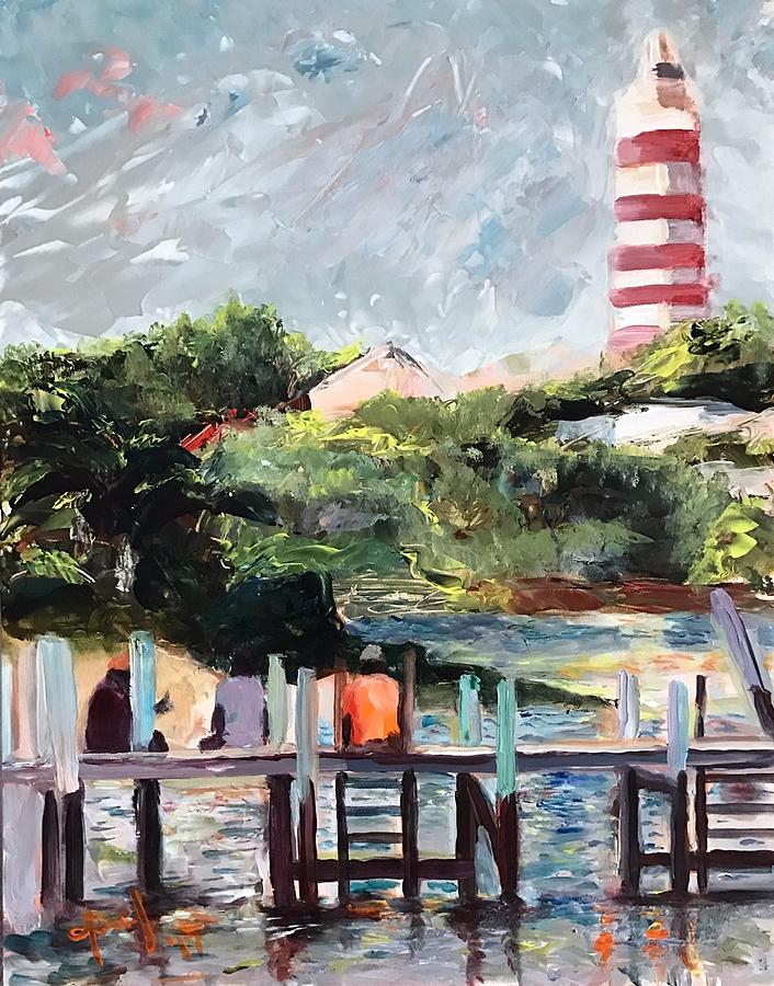 Hope Town Painting - On the Dock by Josef Kelly