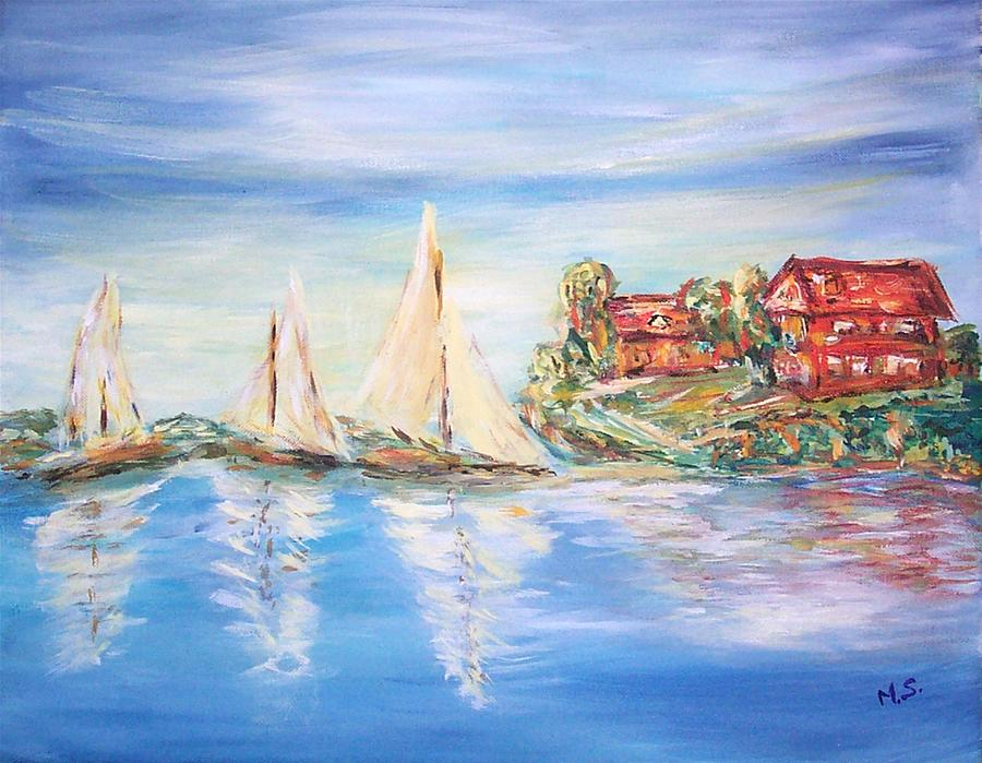 Impressionism Painting - On The Dock by Mary Sedici