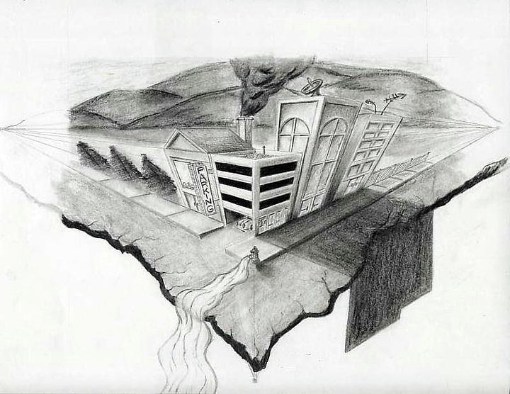 Perspective Drawing - On The Edge by Sean Keir Walburn