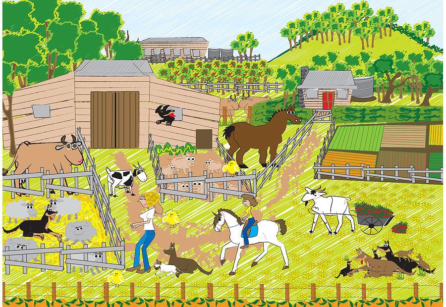 Dog Digital Art - On The Farm by Diana-Lee Saville