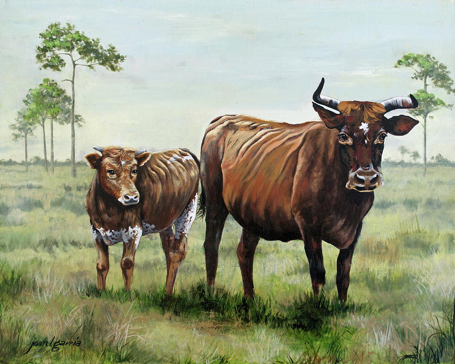 On the Florida Prairie Cracker Cattle by Joan Garcia