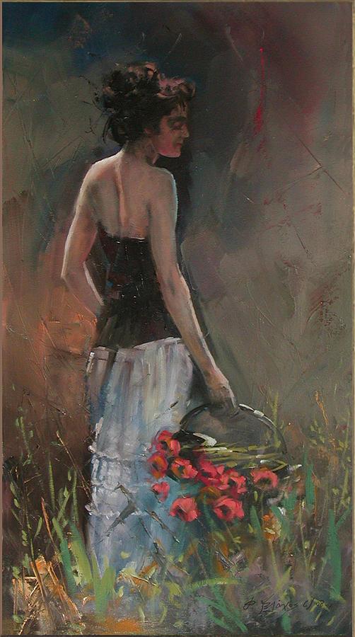 Figure Painting Painting - On The Garden by Demetrios Vlachos