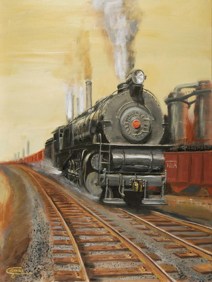 Train Painting - On The Great Steel Road by Christopher Jenkins