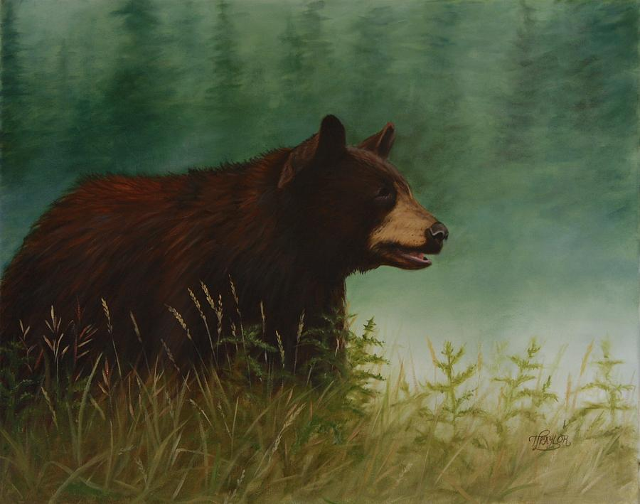 Black Bear Painting - On The Hunt by Tammy  Taylor
