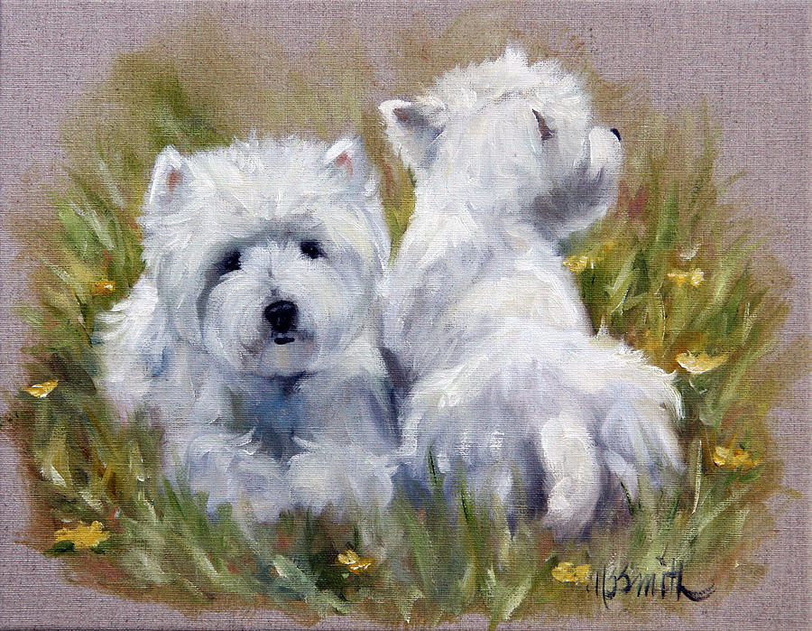 Westie Painting - On The Lawn by Mary Sparrow