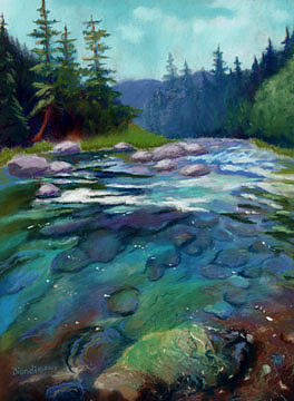 River Painting - On The Mccloud by Janet Biondi