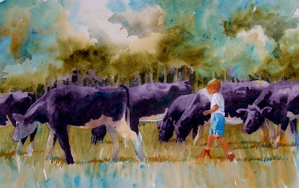 Landscape Painting - On The Moooove by Suzanne Hetzel