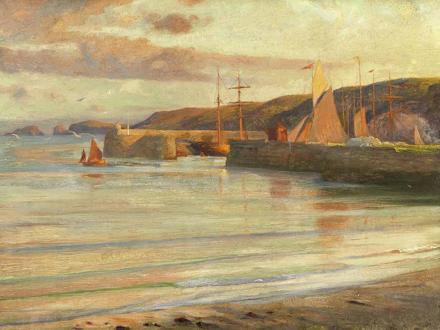 Dicksee Painting - On The North Devon Coast by Frank Dicksee