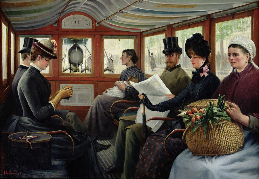 Bus Painting - On The Omnibus by Maurice Delondre