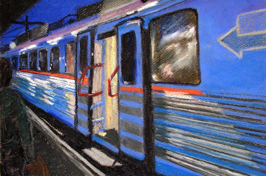 Train Painting - On The Platform by Art Nomad Sandra  Hansen