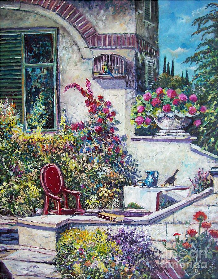 Mediterranean Garden Painting - On The Porch by Sinisa Saratlic