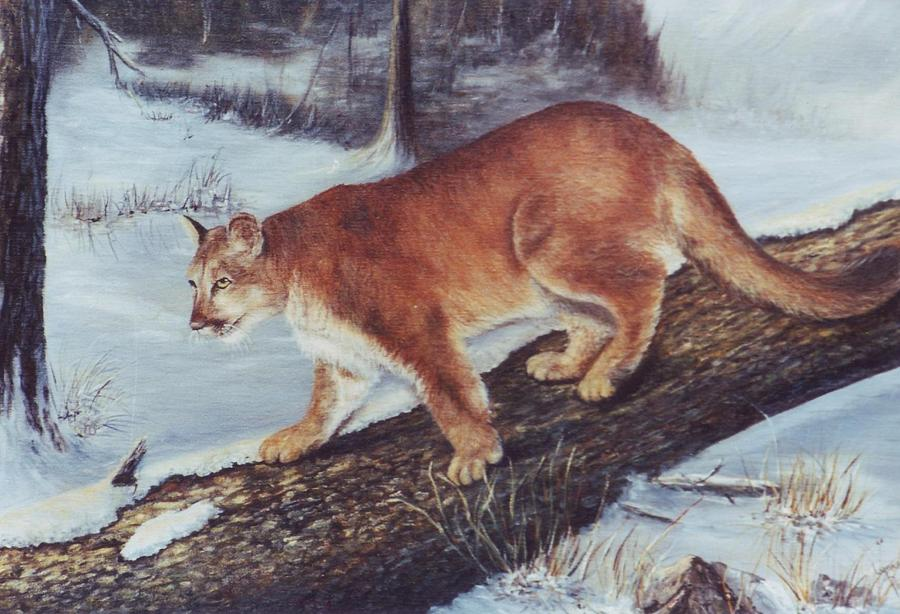 Cougar Painting - On The Prowl by Lynne Parker