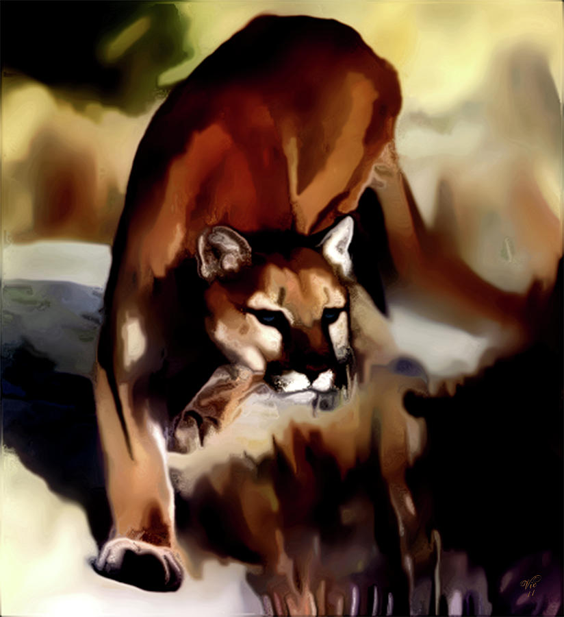 Mountain Lion Digital Art - On The Prowl by Vic Weiford