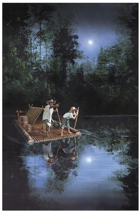 Huckleberry Finn Painting - On The River by Harold Shull