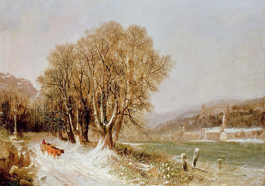 The Painting - On The River Neckar Near Heidelberg by Joseph Paul Pettit