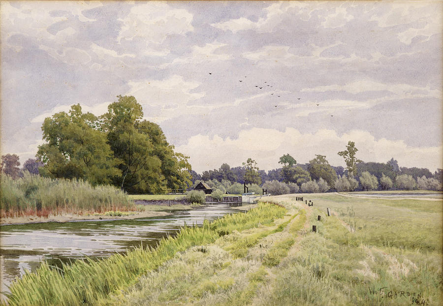 The Painting - On The River Ouse Hemingford Grey by William Fraser Garden