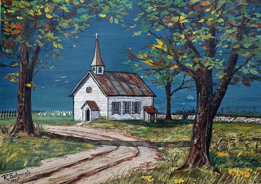 Church Painting - On The Road Home by Raymond Edmonds