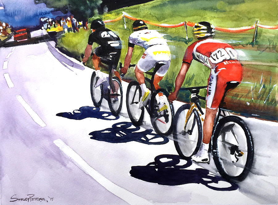 Cycling Painting - On The Road by Shirley Peters