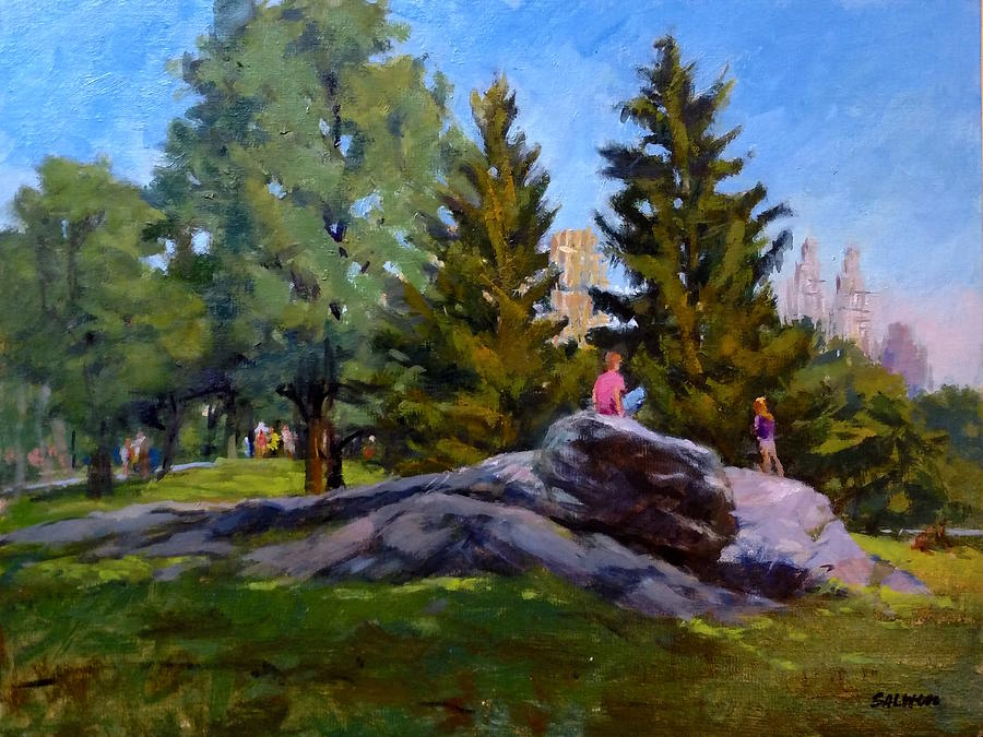 Landscape Painting - On The Rocks In Central Park by Peter Salwen