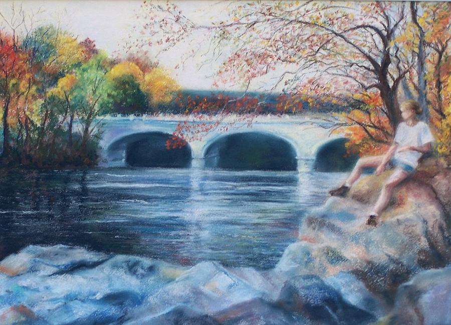 Brandywine River Pastel - On The Rocks by Laura McMillan