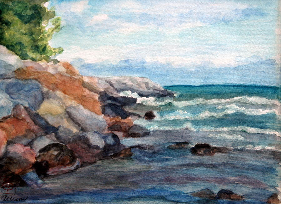 Seascape Painting - On The Rocks by Stephanie Allison