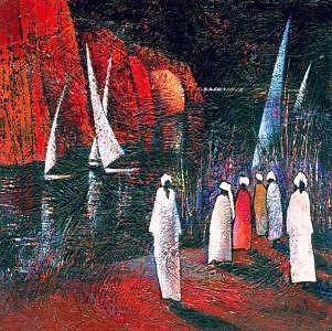 On The Shore Painting by Ehab Lotfi