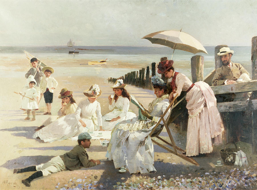 On The Shores Of Bognor Regis Painting by Alexander M Rossi
