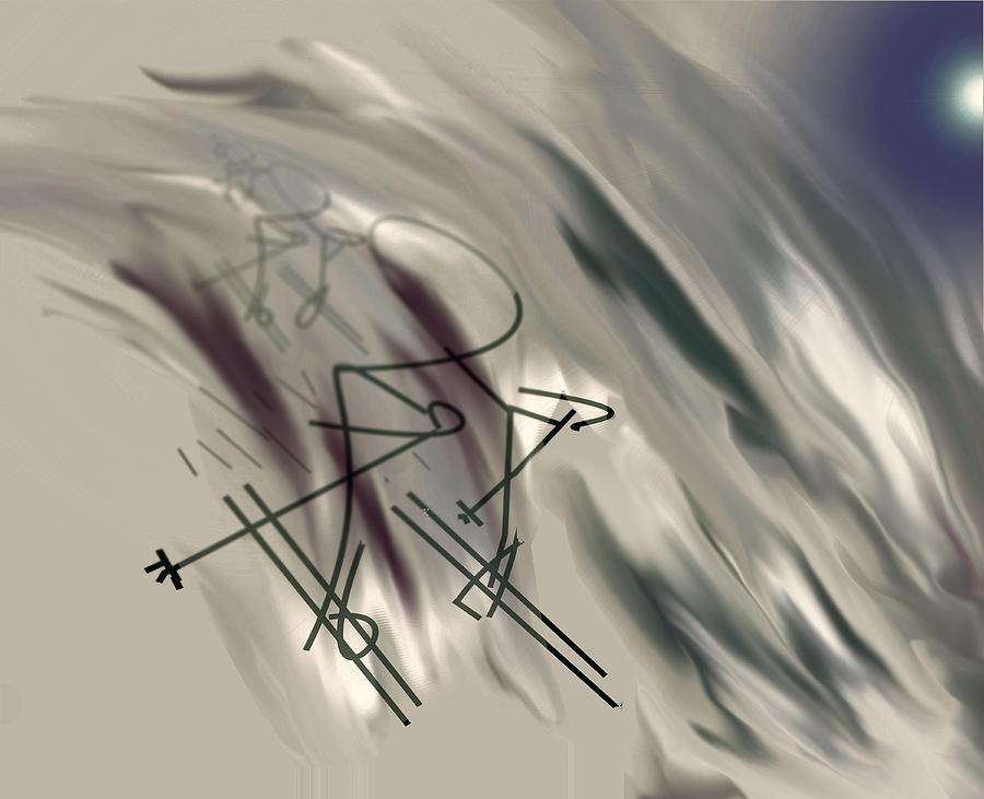 Abstract Digital Art - On The Slopes by John Krakora