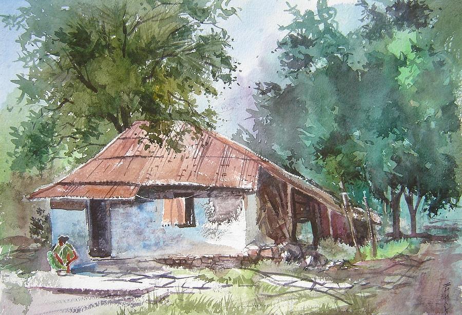 Watercolor Painting - On The Way To Lavasa by Prafulla B Shukla