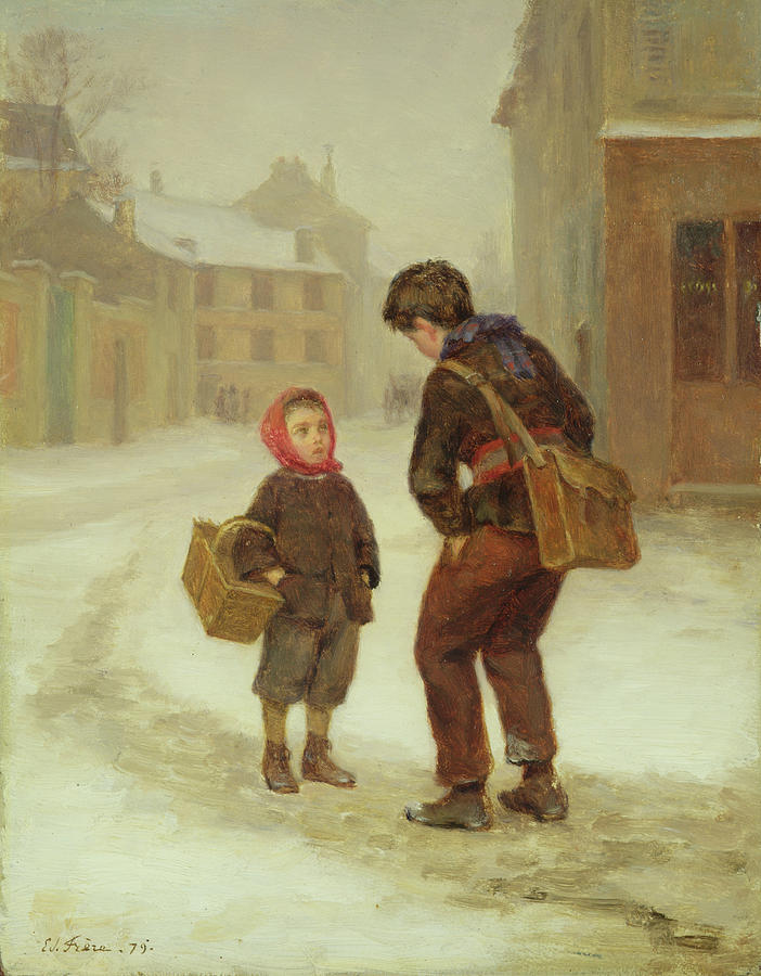 The Painting - On The Way To School In The Snow by Pierre Edouard Frere